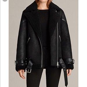 All Saints Hawley oversized moto shearling jacket